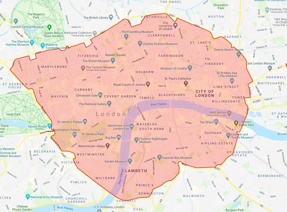 2020 C-Charge Zone map, London