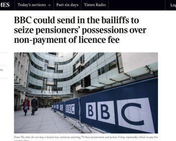 BBC Bailffs article 6th Aug 2020 Times newspaper