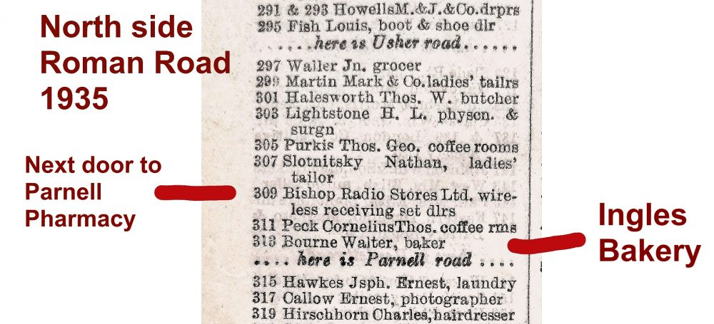 Bishop Radio Stores, Roman Road 1935