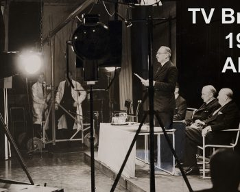 The Postmaster-General, Major G C Tyron addresses the Baird studio cameras, 2 November 1936, from the Daily Herald Archive, Science Museum Group collection