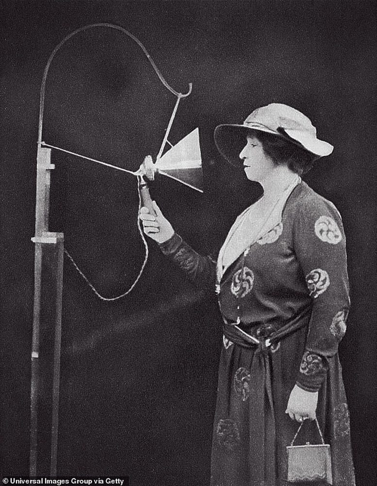 Dame Nellie Melba is pictured making her first wireless broadcast in 1920