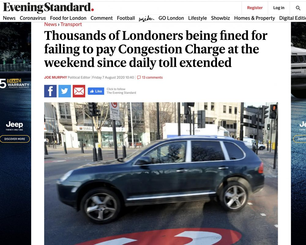 Congestion Charge fines Evening Standard 7th Aug 2020