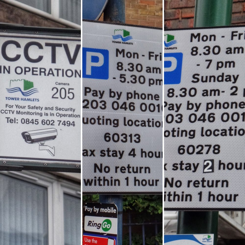Parking signs Tower Hamlets