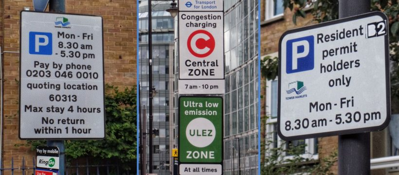 Parking & C-Charge signs header