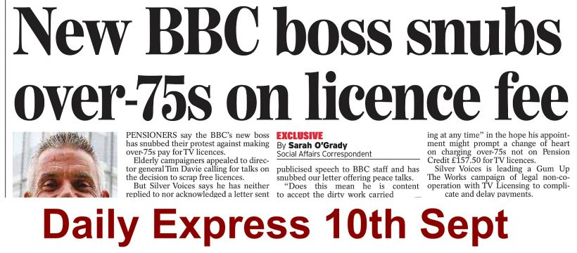 Daily Express on TV Licence 10th Sept 2020