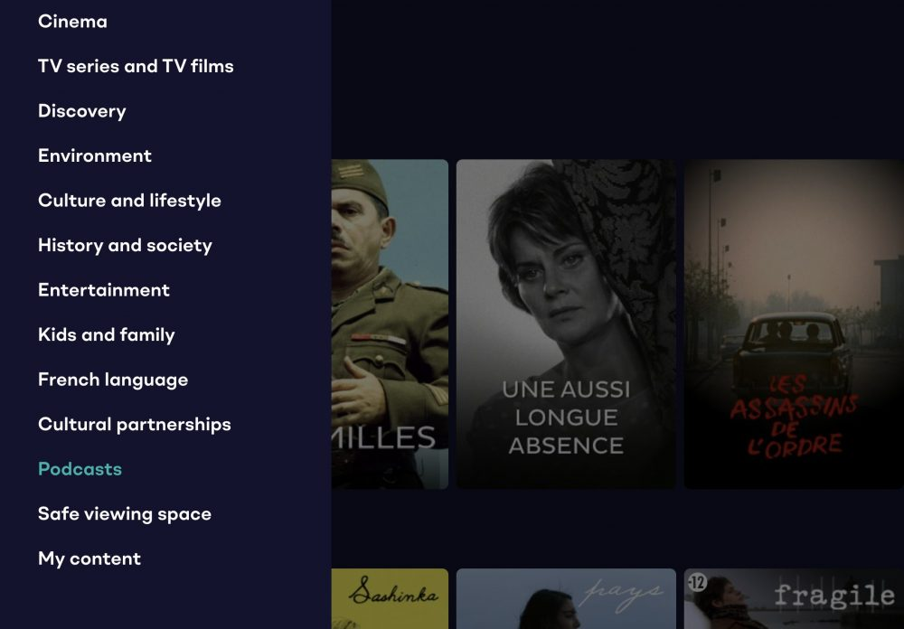 Menus in English on TV5 Monde Plus app
