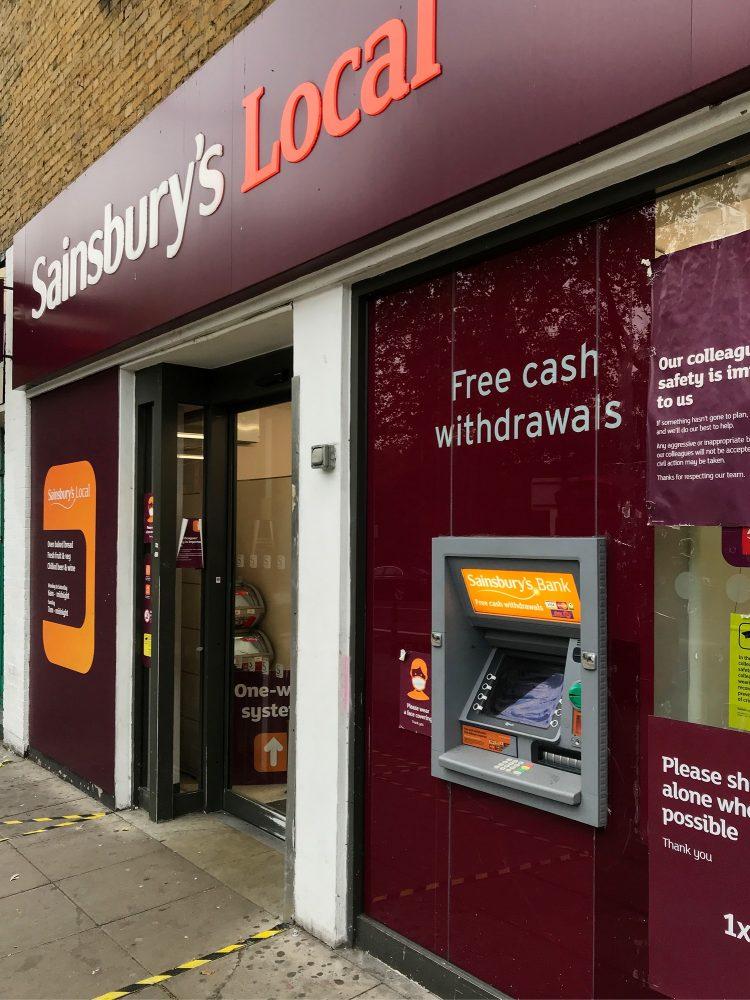Sainsbury's cash machine Bethnal Green