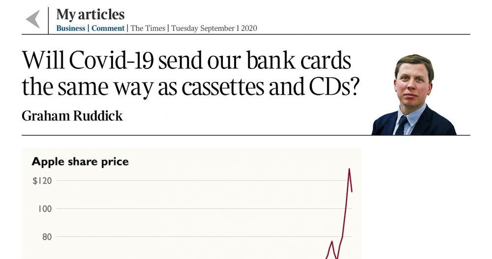 Will the Silicone Valley giants replace your bank card? The Times 1st Sept 2020