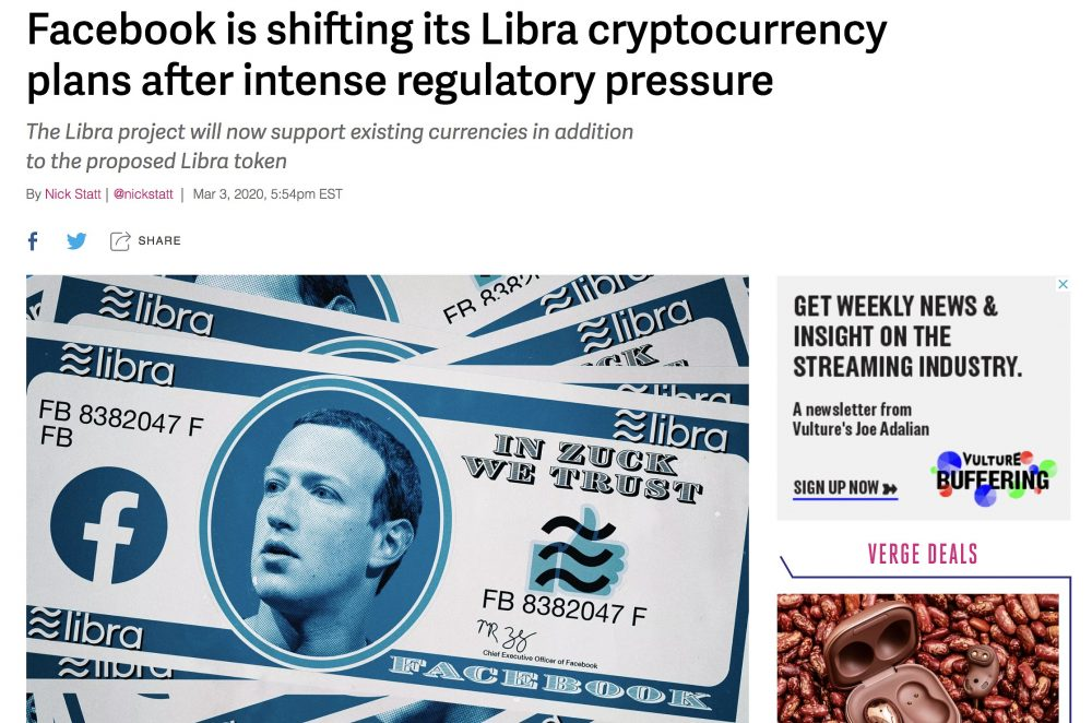 Facebook's Libra - The Verge 3rd March 2020