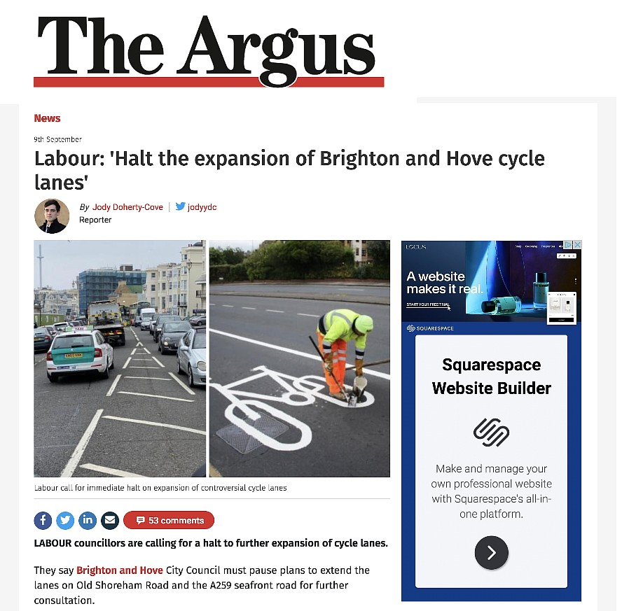 Brighton Argus Cycle Lanes