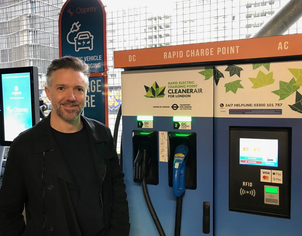 James Wehner with Osprey Rapid electric car chargers, Stratford