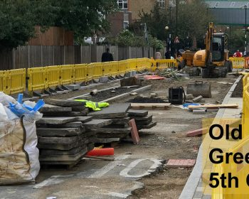 Installing cycle lanes Old Bethnal Green Road Oct 2020