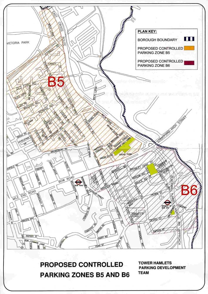 Proposed new parking zones for Bow