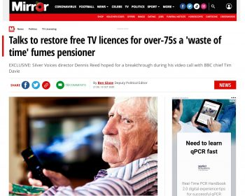UK TV License Mirror newspaper 13th Oct 2020
