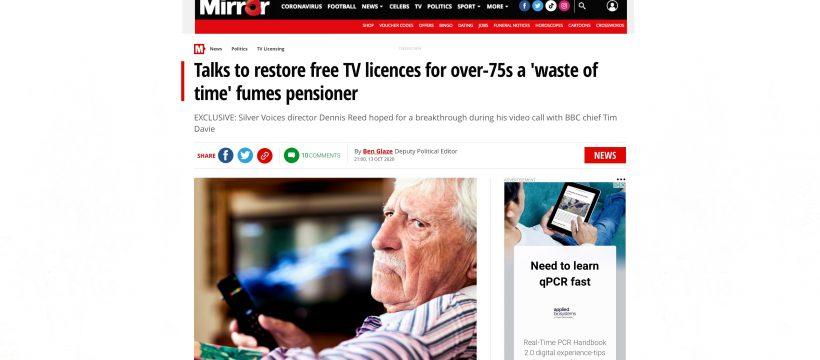 UK TV License Mirror newspaper 13th Oct 2020