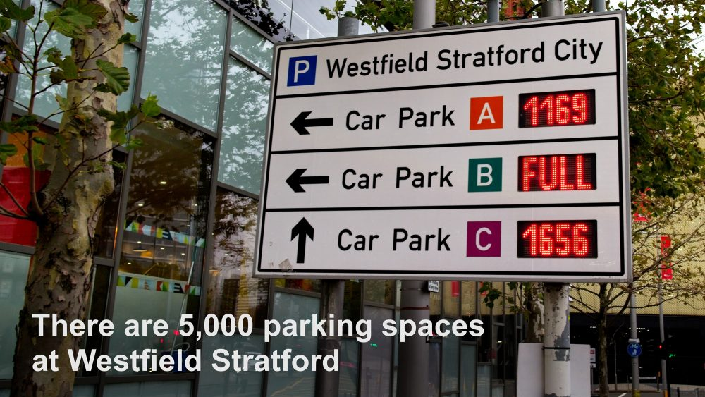 There are 5,000 parking spaces across the three car parks at Westfield Stratford City