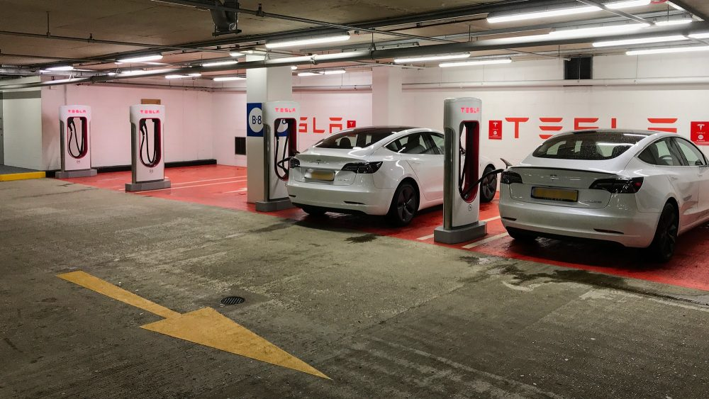 Tesla electric car superchargers at Canary wharf