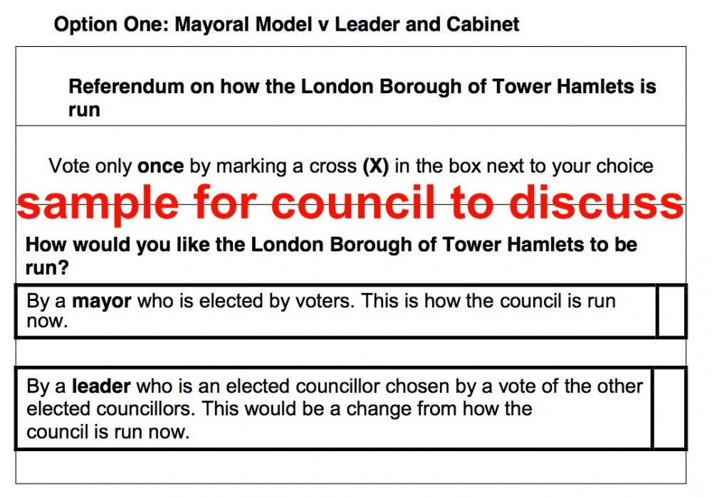 Option 1 for Tower Hamlets Council to consider Nov 2020