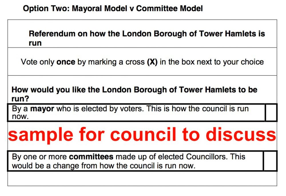 Option 2 for Tower Hamlets Council to consider Nov 2020