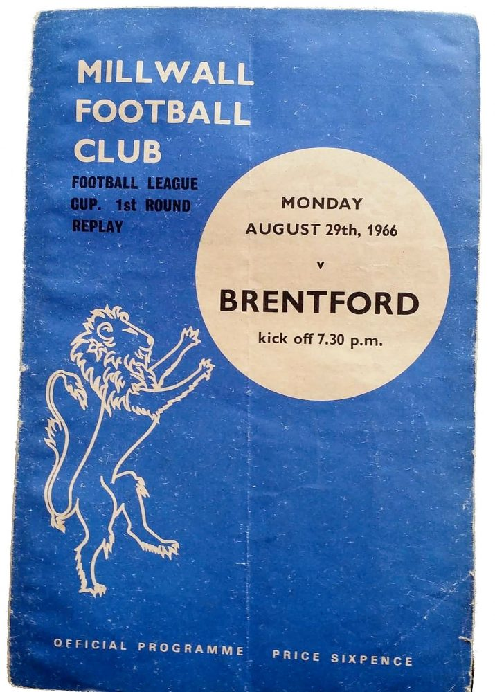 Millwall v Brentford programme (1966). This is from the first game Barrie ever went to at Millwall.