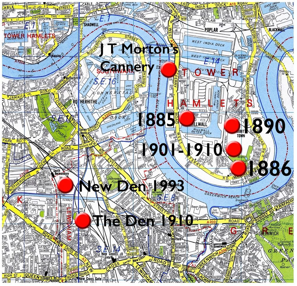 1960s Geographers' map showing the docks, overlaid with the six Millwall football grounds. It shows how close the club has stayed to it's original site.