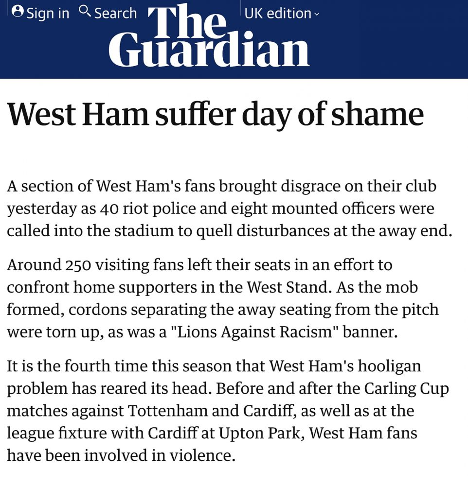 """The Guardian Mon 22 Mar 2004: """"West Ham day of shame"""""""