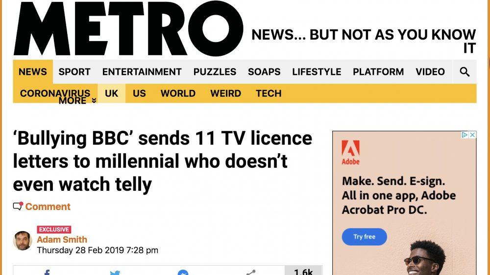 Bullying BBC - Metro Feb 2019