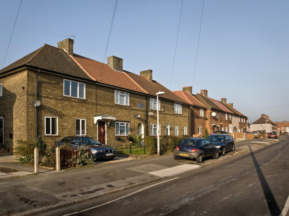 First block of houses completed on the LCC Becontree Estate, Chittys Lane Nov 1921.