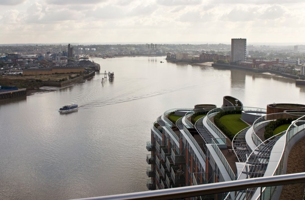 View over Thames from New Providence Wharf Penthouse in 2006