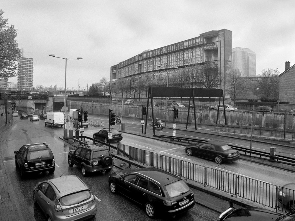 Robin Hood Gardens looking across the entrance to the Blackwall Tunnel