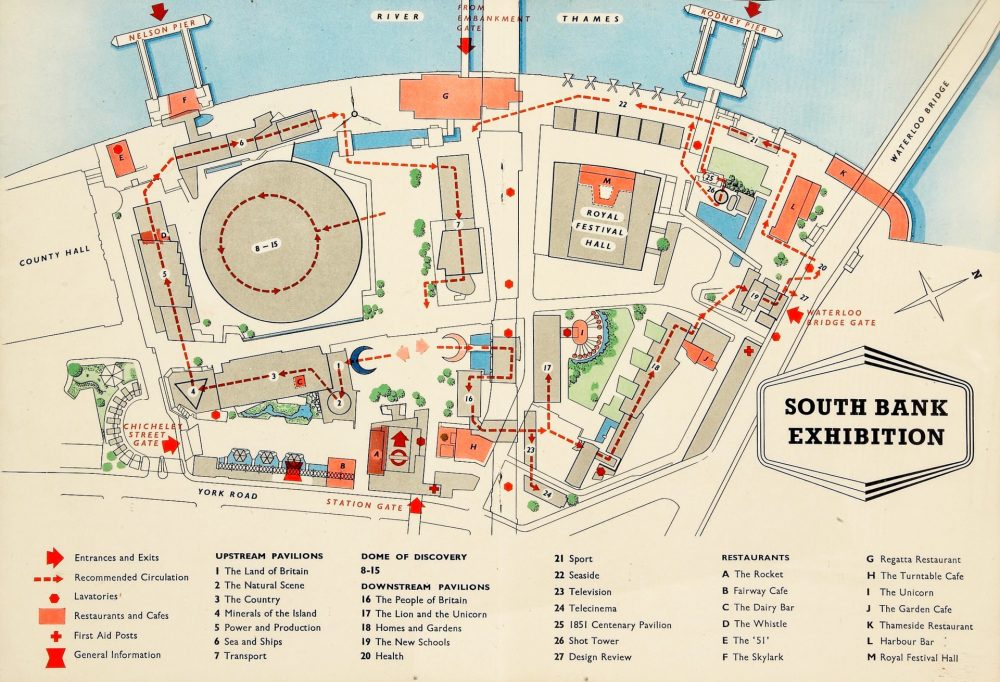 South Bank Exhibition plan for the Festival of Britain, 1951.