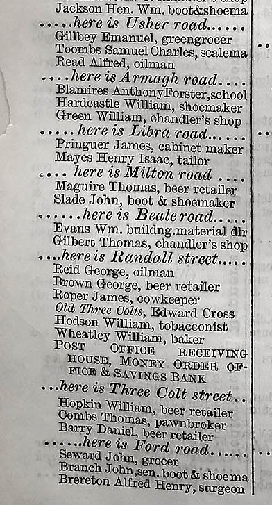 1870 Street Directory showing Old Three Colts