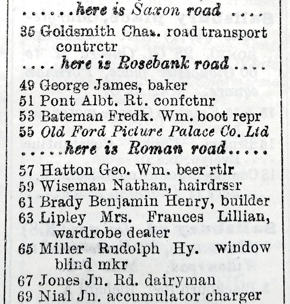 1935 Street Directory detail showing Old Ford Picture Palace (later the Ritz) St Stephens Road, London E3