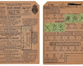 National Insurance card from 1940 showing payment stamps. Source British Government.