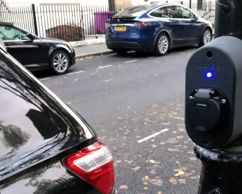 Street lamp car charger in Bow, London